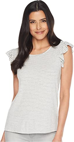 Ruffle Sleeve Yarn-Dyed Stripe Rib Knit Top
