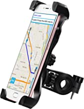 Yoassi Bike Phone Mount, with Shock-Absorbing Pad & Four Slide-Proof Clamps, 360 Degrees Rotatable Holder Cradle for Motorcycle/Bike Handlebars, Fits Universal iOS Android Smartphones, GPS, etc.