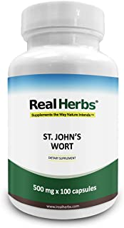 Real Herbs St Johns Wort Standardized to 0.3% Hypericin 500mg - Herb Supplement for Positive Thoughts - Vegan Capsules an ...