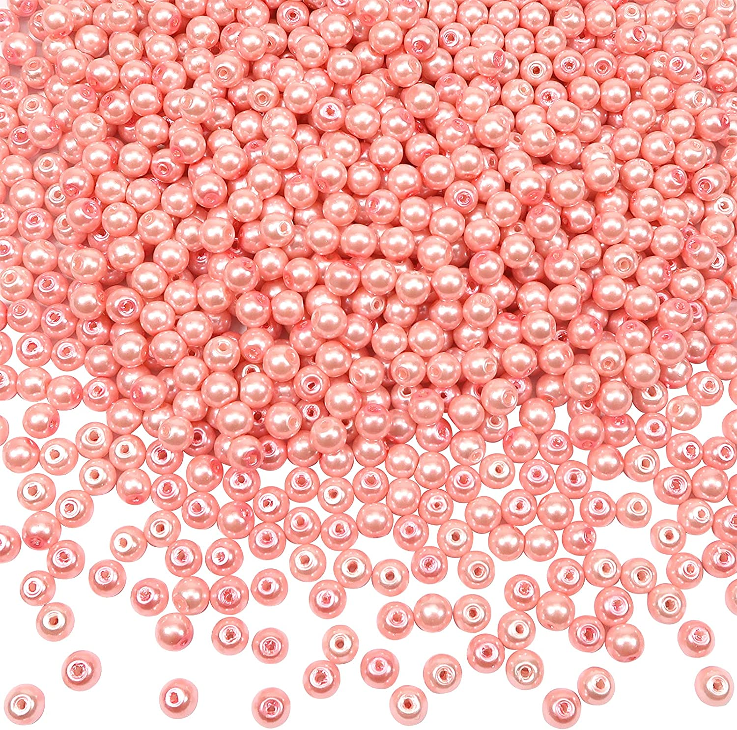 TOAOB 1000pcs Glass Pearl specialty shop Max 69% OFF Beads Holes Pink 6mm with