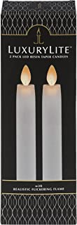 Ganz Remote Ready, Blow-Out Feature White 1 x 8.5 Resin LED Taper Candles, Set of 2