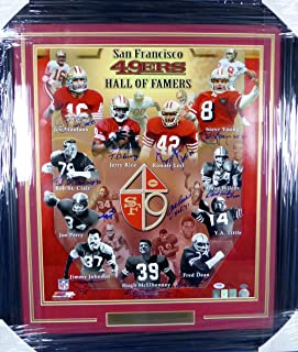 SAN FRANCISCO 49ERS HALL OF FAMERS AUTOGRAPHED FRAMED 20X24 PHOTO