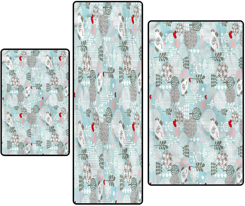 Max 63% OFF Floral Non-Slip Kitchen Mat Runner Cute Rug Set Bird Store Valentines