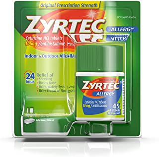 Zyrtec 24 Hour Allergy Relief Tablets, 10 mg Cetirizine HCl Antihistamine Allergy Medicine, 45 ct