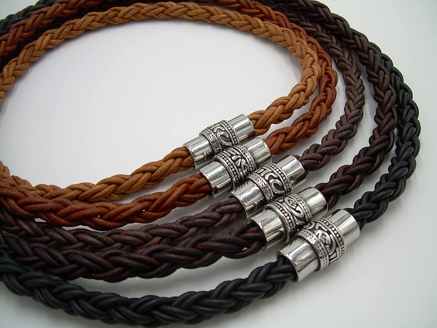 Handmade Mens Max 90% OFF Thick Braided Leather Stai Lowest price challenge with Necklace Filigreed