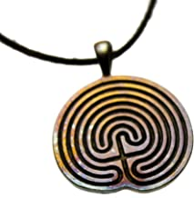 product image for From War to Peace Minoan Labyrinth Iridescent Pendant Necklace on Adjustable Natural Fiber Cord