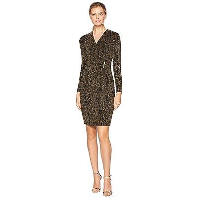 Calvin Klein Metallic Faux Wrap Dress (Black/Gold) Women