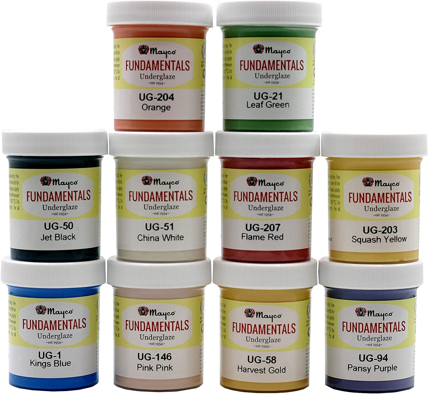 Mayco Underglaze Set 1 - Set of 10 - Assorted Colors in 2 ounce Jars with Free How to Paint Bisque Book