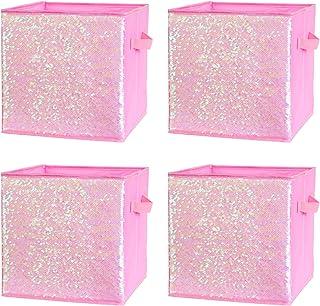 4pcs Boites de Rangement en Tissu Oxford Boîtes Réversible à Sequins de Rangement Panier Cube Pliables Caisse de Rangement...