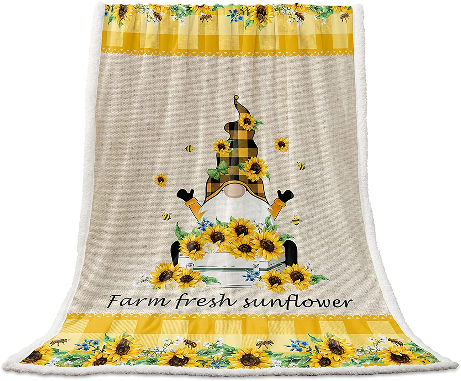 Flannel Fleece Sherpa Blanket Bee Recommended Fuzzy Super beauty product restock quality top! Sunflowers Cozy Li Gnome