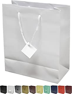 Novel Box® White Matte Laminated Euro Tote Paper Gift Bag Bundle 8