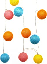 CVHOMEDECO. Colorful Cotton Woven Balls LED String Lights Battery Operated for Home Bedroom Wedding Party Birthday Valenti...
