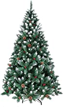 VEIKOU Frosted Sweet Pine Artificial Christmas Tree Decorated with Pine Cones and red Berries (5 FT, 580 Branch Tips)