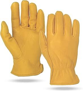 Illinois Glove Company 59 Premium Heavy Duty Grain Elkskin Gloves Gold Unlined