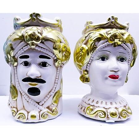 NonsoloFimo Collezione Oro 2021 Coppia Testa di Moro Regina in Ceramica Harmony Decorata a Mano,Altezza 14 cm BOMBONIERA Matrimonio