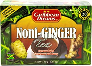 Caribbean Dreams Noni Ginger Tea, 20 Tea Bags, Flavored with Strawberry & Cherry, Herbal, All Natural, Caffeine Free Tea from Jamaica