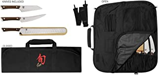 Shun Cutlery 4-Piece Kanso BBQ Set; Three Professional-Grade Knives and Travel-Friendly Knife Roll; Handcrafted Japanese AUS10A Refined Steel and Tagayasan Handle for Exceptional Knives