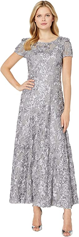 Long A-Line Rosette Dress with Sequin Detail