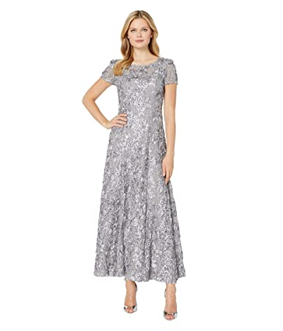 Alex Evenings Long A-Line Rosette Dress with Sequin Detail