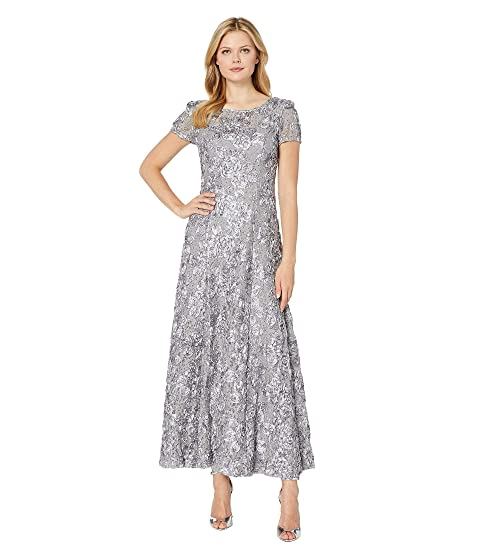 ba10cc5b364 Alex Evenings Long A-Line Rosette Dress with Sequin Detail at Zappos.com