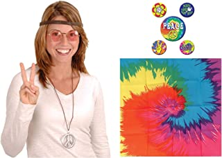 60s Sixties Retro Hippie Costume Kit   Includes Glasses, Peace Sign Necklace, Peace Buttons and Tie Dye Bandana