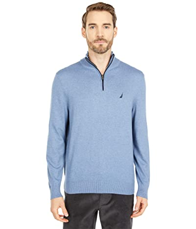 Nautica Navtech 1/4 Zip Sweater (Deep Anchor Heather) Men