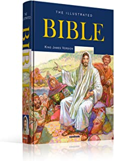 Illustrated Bible-The Holy Bible King James Version-King James Bible-1735 Pages-16 Full Color Maps-Illustrated Bible Stories-Entire Family-600+Full ... John-Gold Leaf-Edges-Hardcover