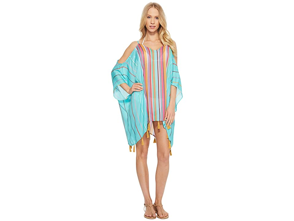 Nanette Lepore Sayulita Cold Shoulder Caftan Cover-Up (Turquoise) Women