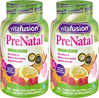 Vitafusion Pre Natal Gummy Vitamins; Lemon & Raspberry Lemonade Flavors 90 Each (2 pack)