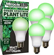 MiracleLED 604758 11W A19 Grow Room Specialty Light with Green LED Bulb, Omni directional, 4-Pack