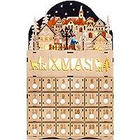Deals on BCP Wooden Christmas Village Advent Calendar Decoration