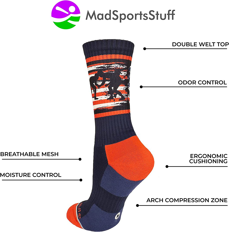 MadSportsStuff USA Flag Fighting Wrestlers Athletic Crew Socks