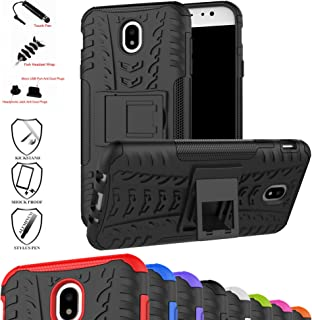 MAMA MOUTH Galaxy J7 Pro J730G Case, Shockproof Heavy Duty Combo Hybrid Rugged Dual Layer Grip Cover with Kickstand for Samsung Galaxy J7 Pro J730G 2017(with 4 in 1 Packaged),Black