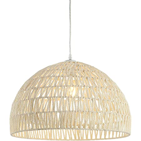 Kouboo 1050100 Open Weave Cane Rib Dome Hanging Ceiling Lamp One Size Wheat
