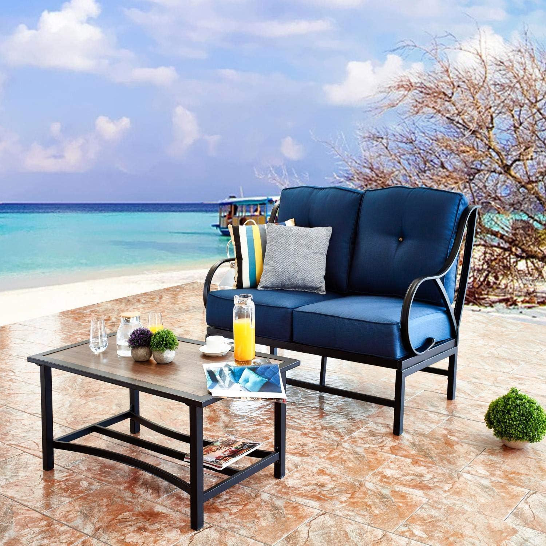 High quality PatioFestival Patio Bench Sofa Loveseat Set Outdoor Bargain Conversation