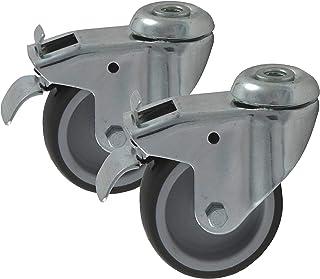 2 stk. Apparatuurwielen, transportwielen, 50 mm rubber grijs, met remstop-blokkering fixerer, zwenkwiel zwenkbaar (50 mm)