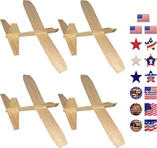 Guillow's Balsa Wood Jetfire Gliders | Wooden Model Airplane Construction Kits | 12-Inch Customizable Unfinished Blank DIY Flying Toy Planes | 4-Pack with 15 Prismatic Patriotic Stickers from KYGON