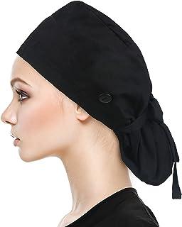 قبعة عمل قابلة للتعديل مع زر للشعر الطويل، حامل عصابة رأس من القطن، قبعات برباط خلفي للنساء والرجال، مقاس واحد