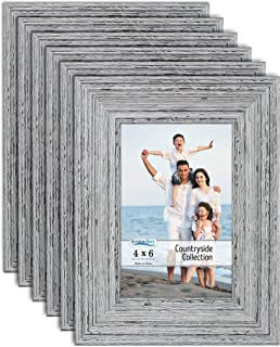 Icona Bay 4x6 Picture Frames (6 Pack, Speckled Gray), Picture Frame Set, Wall Mount or Table Top, Set of 6 Countryside Collection