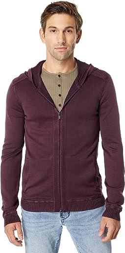Long Sleeve Cotton Acid Wash Full Zip Hoodie Y2111X2B