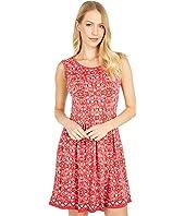 Printed Matte Jersey Sleeveless A-Line Dress