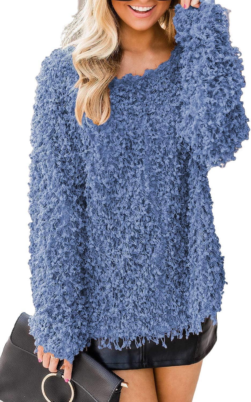 Allimy Women Winter Long Sleeve Knit Tunic Tops Fuzzy Popcorn Sweater Pullover Sweatshirt Medium Blue