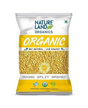 Natureland Organics Moong Dal Yellow/Split Washed Pouch, 1 kg