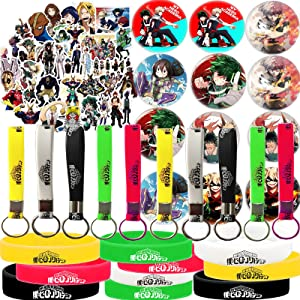 My Hero Academia Stickers Button Pins Bracelets Set, MHA Party Supplies - 50 Pack Stickers, 12 Pack Button Pins, 10 Pack Bracelet, 10 Keychain for Anime Party Favors