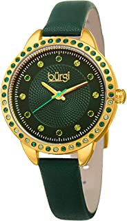 Burgi Womens Quartz Watch, Analog Display and Leather Strap BUR161YGGN