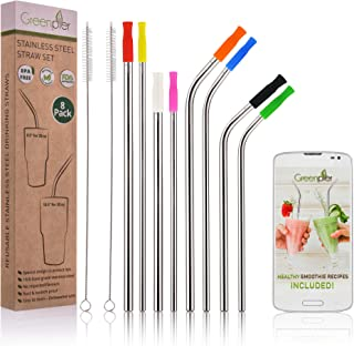 Reusable Stainless Steel Drinking Straws with Silicone Tips - Set of 8 10.5 & 8.5 Inch Diameter 0.31&0.24