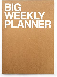 JSTORY Big Weekly Planner Stitch Bound Lays Flat Huge Undated Year Round Flexible Cover Goal/Time Organizer Thick Paper Eco Friendly Customizable A4 54 Weeks 100 GSM 28 Sheets Kraft