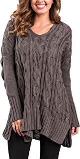 Haogo Womens Casual V Neck Long Sleeve Cable Knit Loose Pullover Sweater