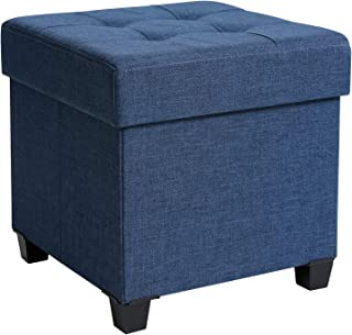 SONGMICS Storage Ottoman, Padded Folding Bench, Chest with Lid, Solid Wood Feet, Space-Saving, Holds up to 660lb, Navy Blue ULSF14IN