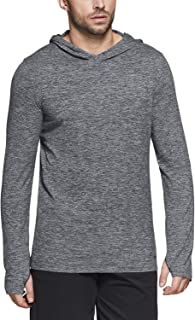 TSLA Men's Long Sleeve Running Hoodie, Lightweight Sports Sweatshirt, Active Performance Hooded Pullover T-Shirts